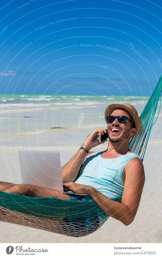 Concept of digital nomad, remote worker, entrepreneur. Lifestyle Relaxation Vacation & Travel Summer Beach Work and employment Business To talk Telephone