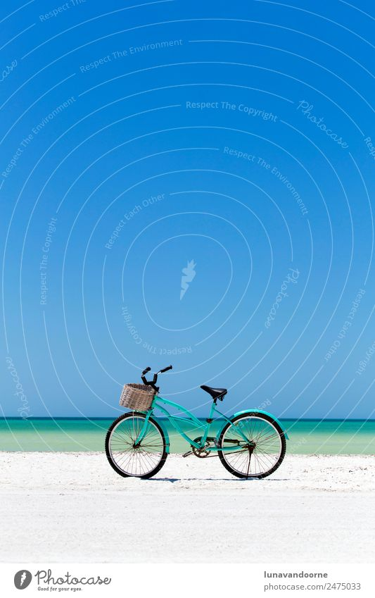 Bike on the beach Beautiful Vacation & Travel Summer Beach Ocean Island Sports Cycling Nature Landscape Sand Sky Coast Transport Retro Blue Turquoise White