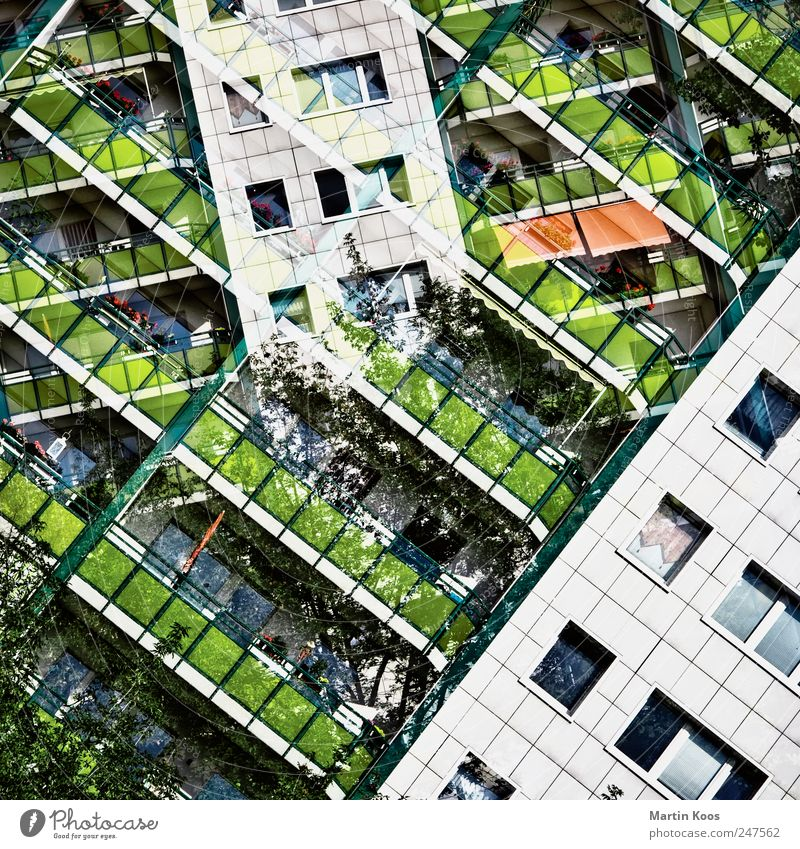 building blocks Populated Overpopulated House (Residential Structure) High-rise Architecture Facade Balcony Window Modern Town Chaos Design Colour Creativity