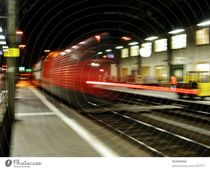 bye, bye light train... In transit Mobility Railroad Night Light Style Red Speed Basel Switzerland Town Tracks Transport sbb Train station Logistics Solothurn