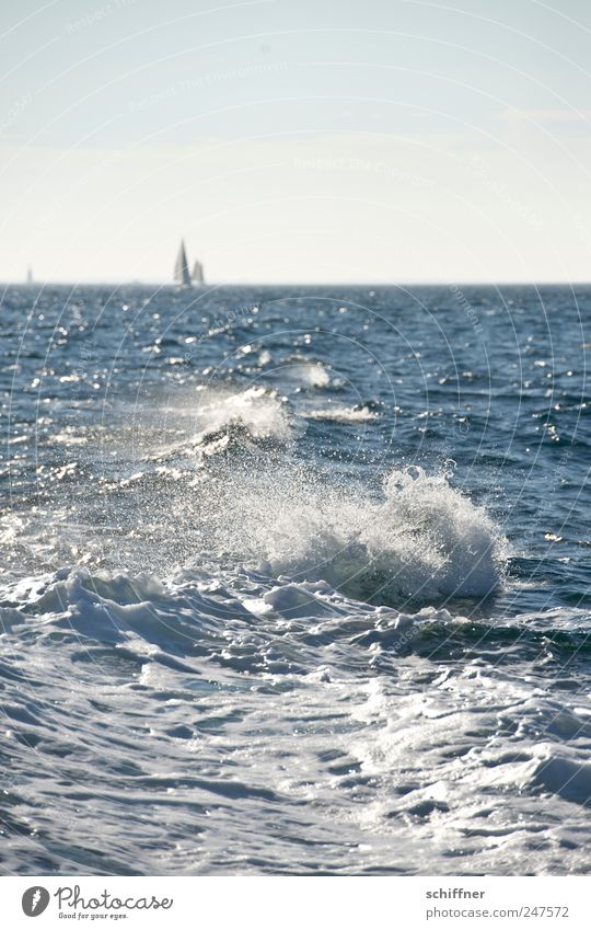Sky Water Vacation & Travel Ocean Far-off places Relaxation Waves Wind Gale Sailing Beautiful weather Sailboat White crest Nature Atlantic Ocean Brittany
