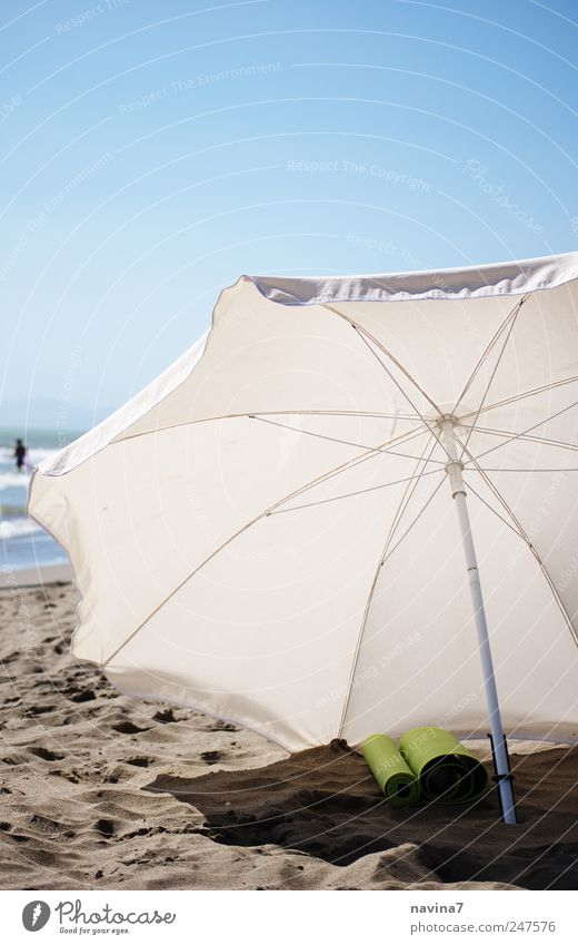waiting parasol Swimming & Bathing Sand Summer Beautiful weather Warmth Beach Ocean Sunshade Umbrellas & Shades Hot Blue White Relaxation Vacation & Travel