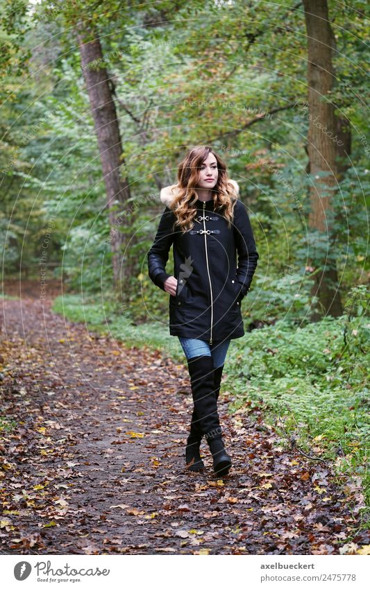 Woman Human being Nature Youth (Young adults) Young woman Tree Winter Forest 18 - 30 years Adults Lifestyle Autumn Feminine Fashion Going Leisure and hobbies