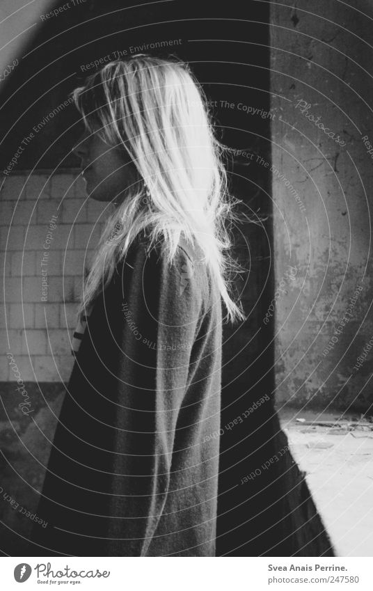 aversion. Feminine Young woman Youth (Young adults) 1 Human being 18 - 30 years Adults Window Blonde Long-haired Thin Sadness Concern Grief Death Lovesickness