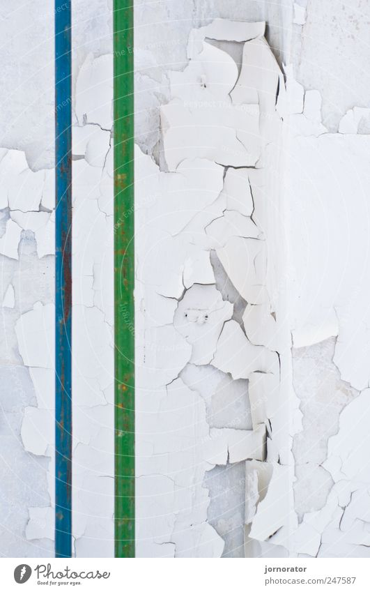 parallelism Industrial plant Factory Wall (barrier) Wall (building) Dry Blue Green White Plaster Flake off Decline Rust Building for demolition Colour photo