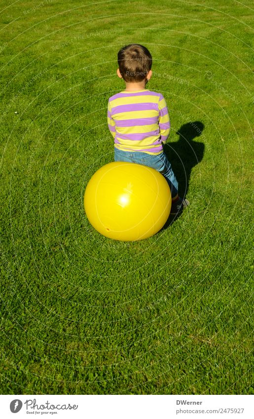 O Lifestyle Leisure and hobbies Playing Vacation & Travel Summer Sun Ball Boy (child) Beautiful weather Grass Meadow T-shirt Jeans Glittering Crouch Jump Yellow