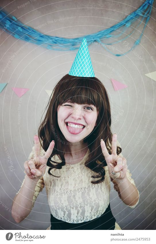 Young cheerful woman making a funny face Lifestyle Style Joy Wellness Feasts & Celebrations Birthday Human being Feminine Young woman Youth (Young adults) 1