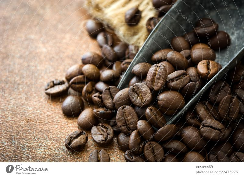 Roasted coffee beans and spoon Natural Food Brown Coffee Beverage Drinking Breakfast Grain Aromatic Spoon Rustic Beans Arabia African Caffeine