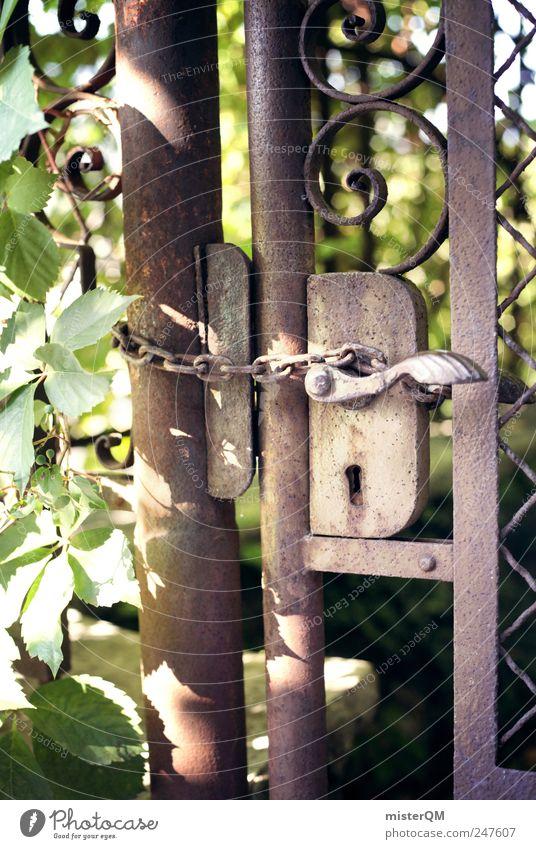 Old Plant Dark Door Closed Esthetic Mysterious Fantastic Gate Rust Chain Mystic Grating Bans Door handle Hard