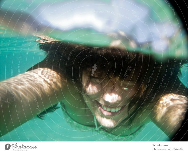 woman under water2 Feminine Hair and hairstyles Face 1 Human being 18 - 30 years Youth (Young adults) Adults Water Bikini Black-haired Brunette Movement
