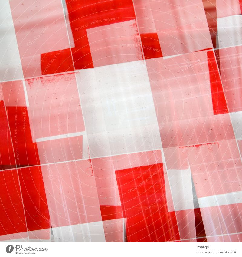 White Red Colour Style Line Signs and labeling Design Lifestyle Uniqueness Plastic Chaos Double exposure Barrier Bans Sharp-edged