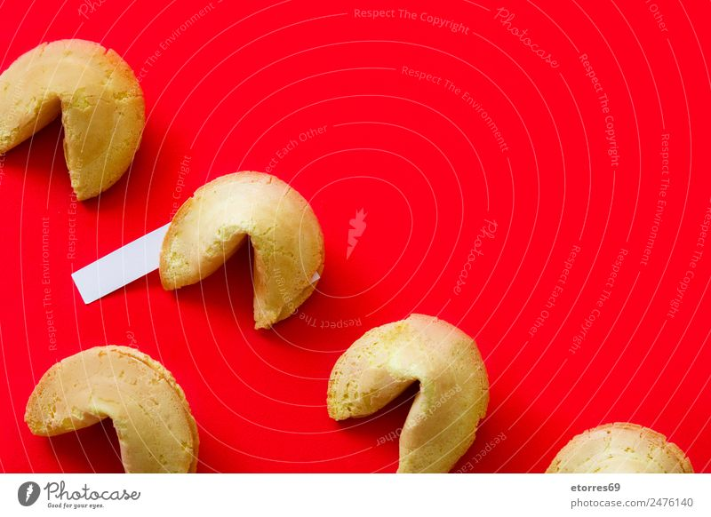 Fortune cookies pattern on red background Food Cake Nutrition Asian Food Red Cookie Chinese Paper Blank Notepaper Culture Food photograph Snack Communication