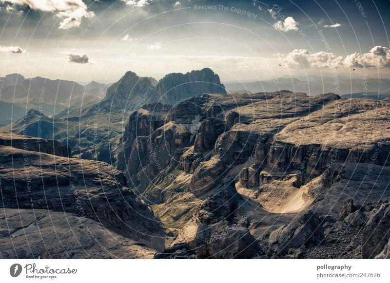 ... behind the seven mountains ... Nature Landscape Elements Earth Air Sky Clouds Summer Beautiful weather Wind Grass Meadow Alps Mountain Canyon Stone