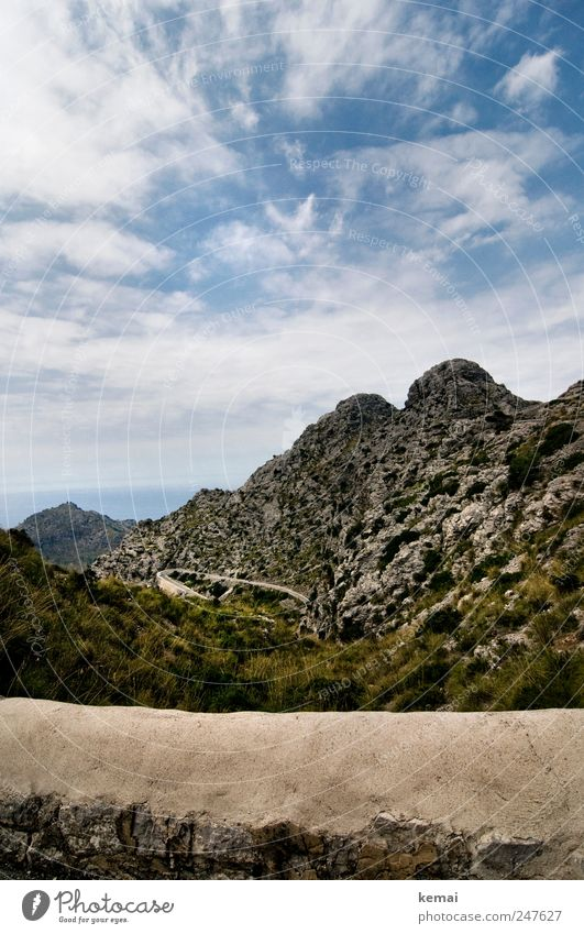 the way to the sea Vacation & Travel Tourism Trip Summer vacation Island Sa Calobra Environment Nature Landscape Sky Clouds Sunlight Beautiful weather Hill Rock