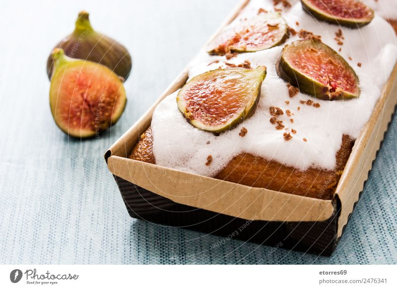 Delicious fig cake on blue background Baked goods Cake Fig Dessert Pie glazed Fruit Food Healthy Eating Food photograph Fresh antioxidant Raw Sweet Candy
