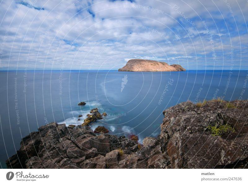 Sky Blue Summer Ocean Clouds Landscape Coast Brown Rock Surf