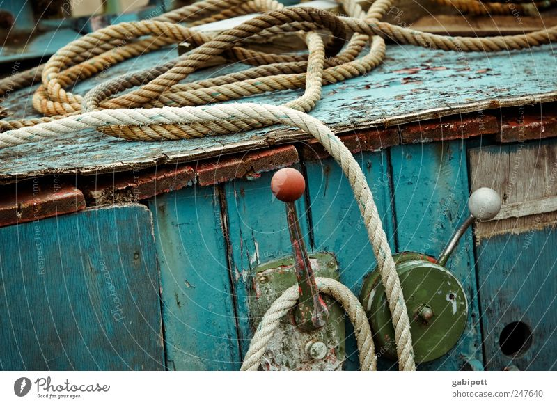Old Blue Green Red Coast Rope Broken Gloomy Change Transience End Longing Derelict Past Decline Trashy