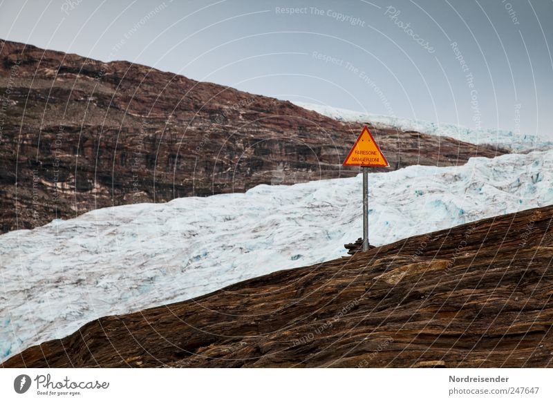 panta rhei Calm Mountain Nature Landscape Elements Climate Climate change Ice Frost Rock Glacier Sign Characters Signs and labeling Signage Warning sign