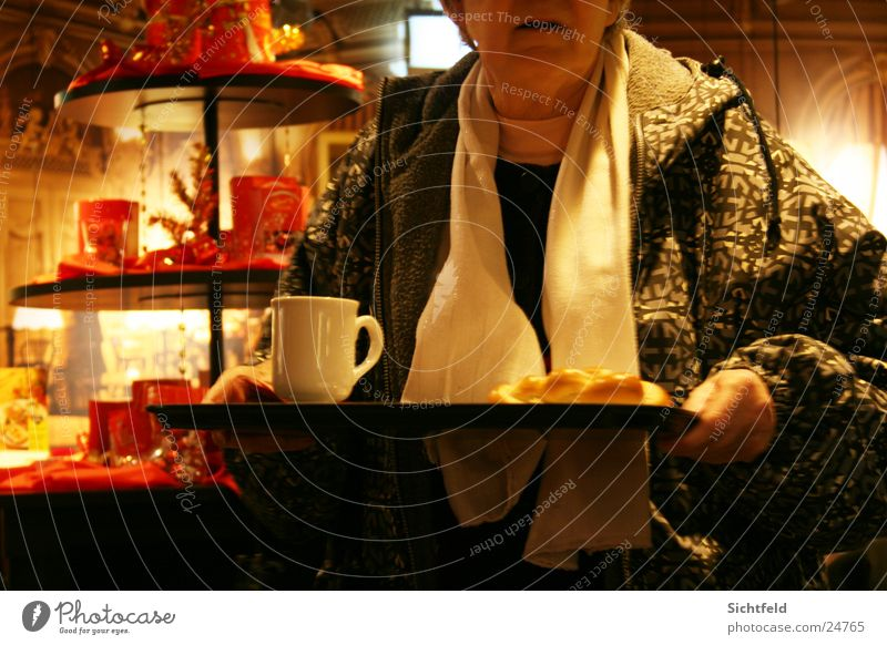 Woman Christmas & Advent Senior citizen Coffee Decoration Bar Tea Café Restaurant Female senior Braids Scarf Human being Tray Sidewalk café
