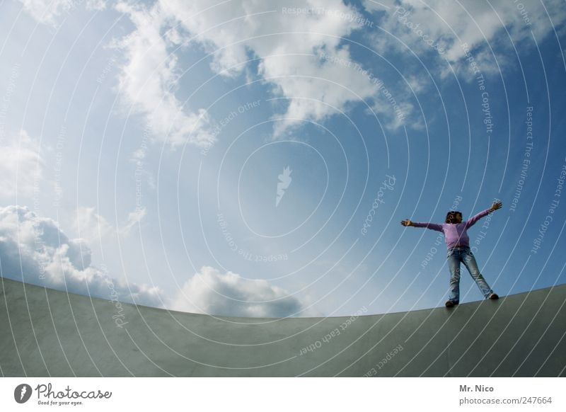 Sky Girl Summer Clouds Architecture Small Happy Dream Infancy Contentment Power Arm Flying Stand Posture Manmade structures