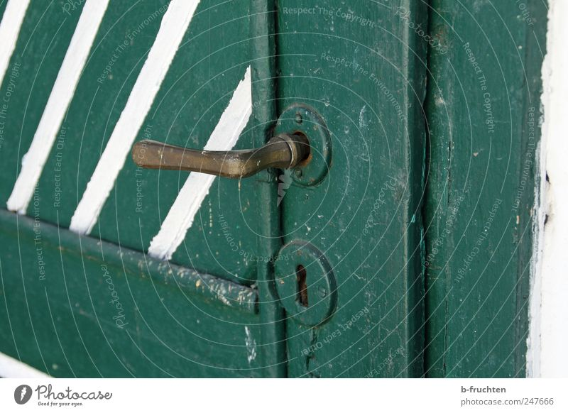 closed House (Residential Structure) Hut Door Old Dirty Safety Door handle Green Wooden door Lock Colour photo Exterior shot Close-up Deserted Copy Space right