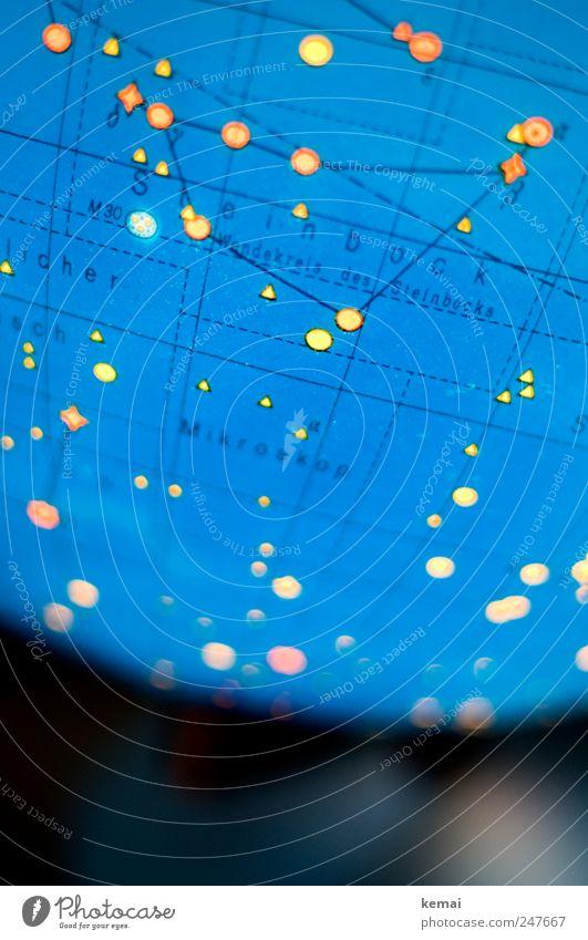 600 stars Globe Starry sky star globe Constellation Capricorn Illuminate Glittering Blue Yellow Astrology Astronomy Light Patch of light Signs of the Zodiac