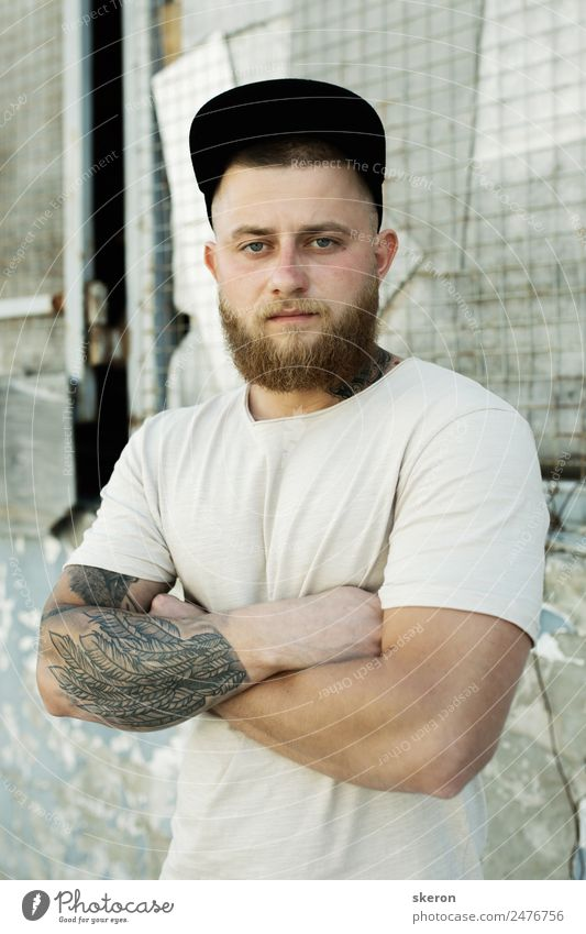 guy with a beard and a tattoo on his arm Human being Youth (Young adults) Beautiful Young man 18 - 30 years Face Street Adults Eyes Lifestyle Fashion