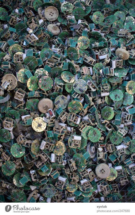Old Green Gray Metal Gold Gold Arrangement Energy industry Broken Cable Industry Technology Round Telecommunications Transience Plastic