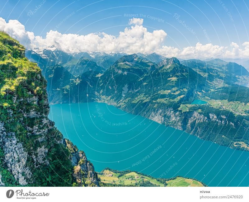 View from Stoos to Lake Lucerne Trip Far-off places Freedom Summer Mountain Hiking Environment Nature Landscape stoos Lakeside Switzerland Europe