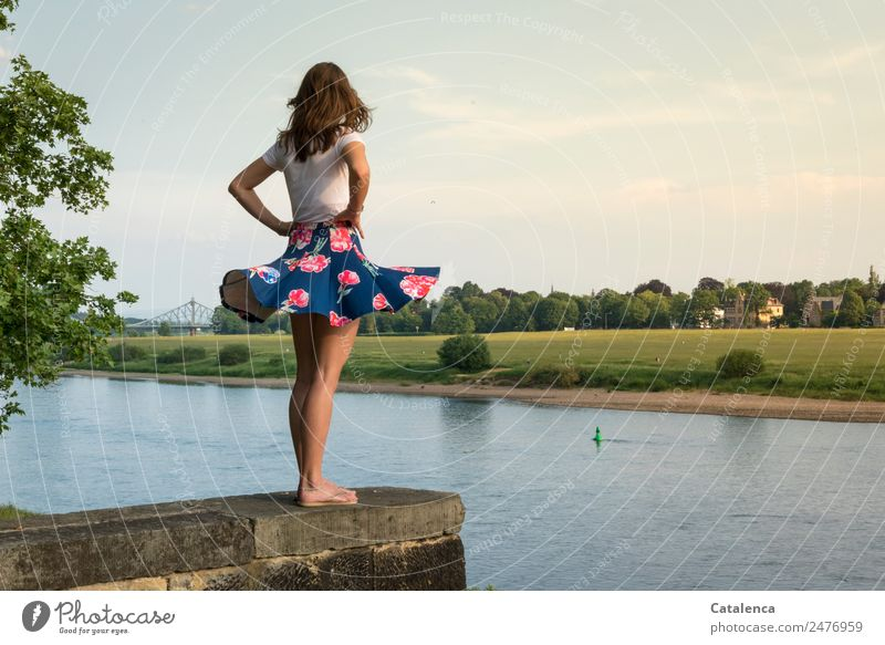 Blue Wonders II Feminine Young woman Youth (Young adults) 1 Human being Landscape Sky Clouds Summer Beautiful weather tree Grass Meadow River bank Elbe