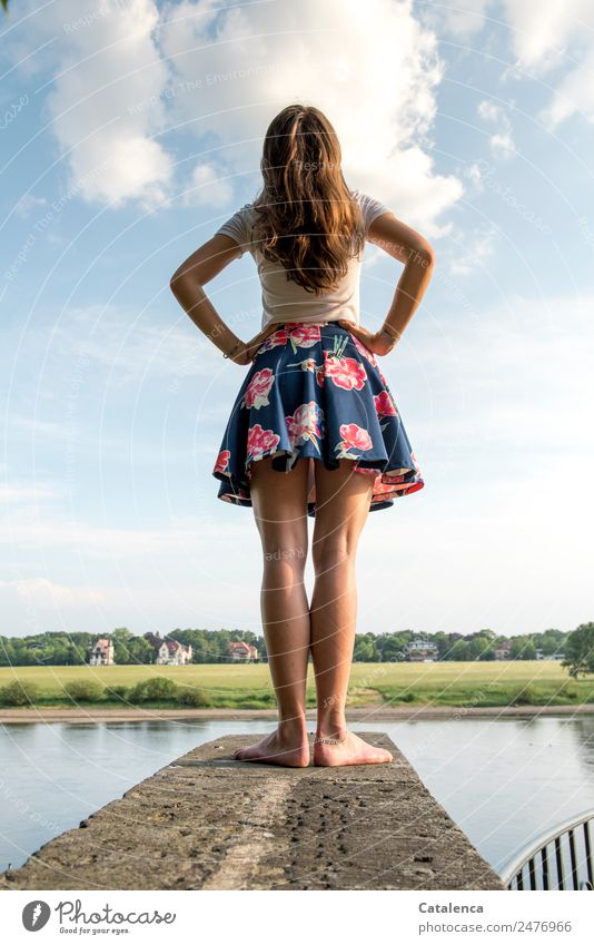 What if ...   Thought game Trip Summer Feminine 1 Human being Landscape Water Sky Clouds Beautiful weather tree Grass Meadow Field Coast River bank Elbe