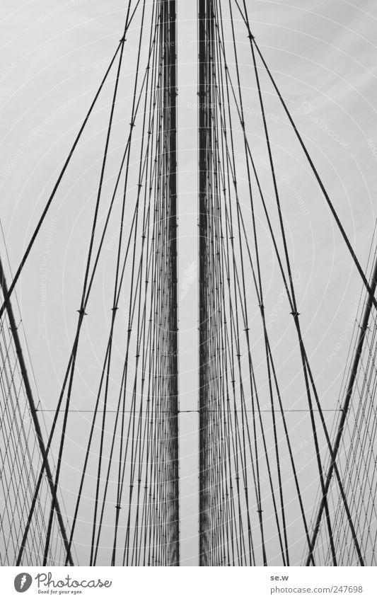 escape Deserted Bridge Rope Checkmark Net Brooklyn Bridge Metal Line Catch Vacation & Travel Esthetic Gigantic Gray Tunnel vision Border Reticular Horizon