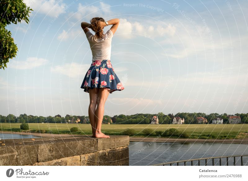 At the Elbe II Feminine Young woman Youth (Young adults) 1 Human being Landscape Sky Clouds Summer Beautiful weather tree Grass Meadow River bank Village