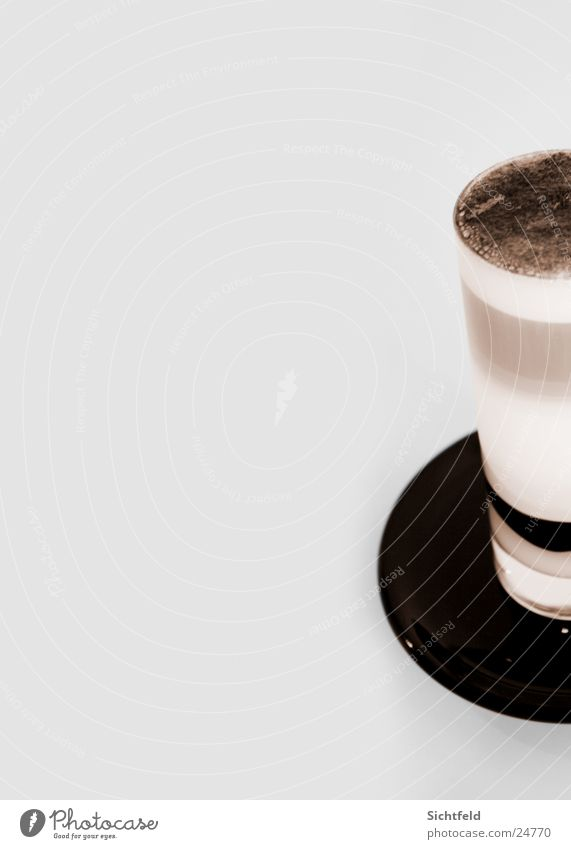 latte macchiato Latte macchiato Café au lait Espresso Sweet White Brown Alcoholic drinks Glass To enjoy Detail Saucer Coffee froth Coffee cup Copy Space left