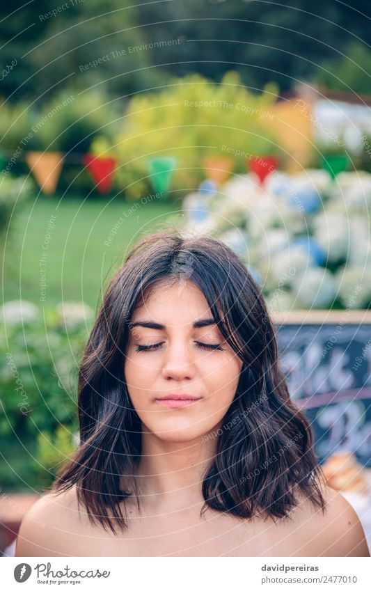 Portrait of woman with closed eyes in garden Woman Human being Nature Summer Beautiful Calm Adults Lifestyle Garden Leisure and hobbies Bright Smiling Happiness