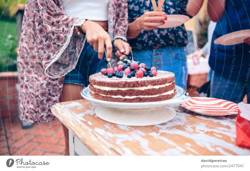 Woman cutting naked chocolate cake in a summer party Dessert Lunch Plate Lifestyle Joy Happy Leisure and hobbies Summer Garden Feasts & Celebrations Adults Man