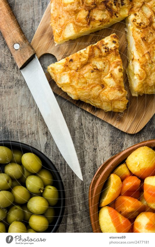 Traditional spanish tapas. Top view Healthy Eating Dish Food photograph Wood Table Delicious Spain Mediterranean Bowl Snack Spanish Cheese Sausage Olive