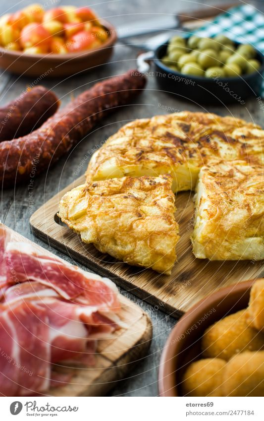 Traditional spanish tapas. Healthy Eating Food photograph Dish Wood Table Delicious Spain Mediterranean Bowl Snack Cheese Spanish Sausage Olive
