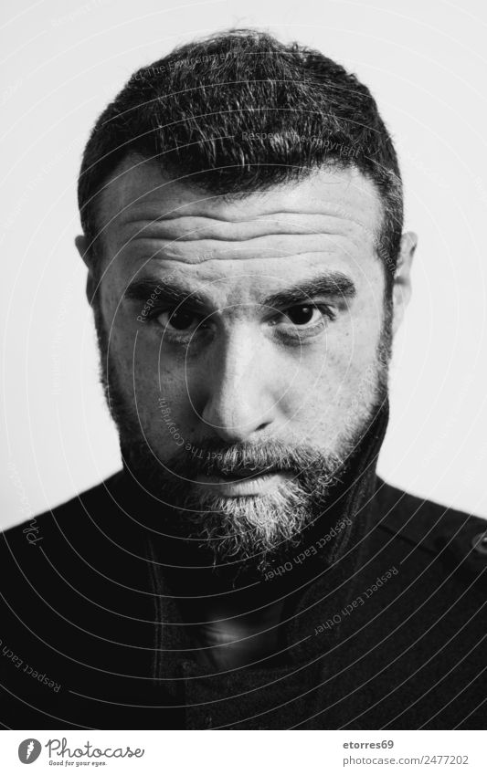 Young man with beard Human being Masculine Youth (Young adults) Man Adults Face Facial hair 1 30 - 45 years Hip & trendy Modern Black White Black & white photo