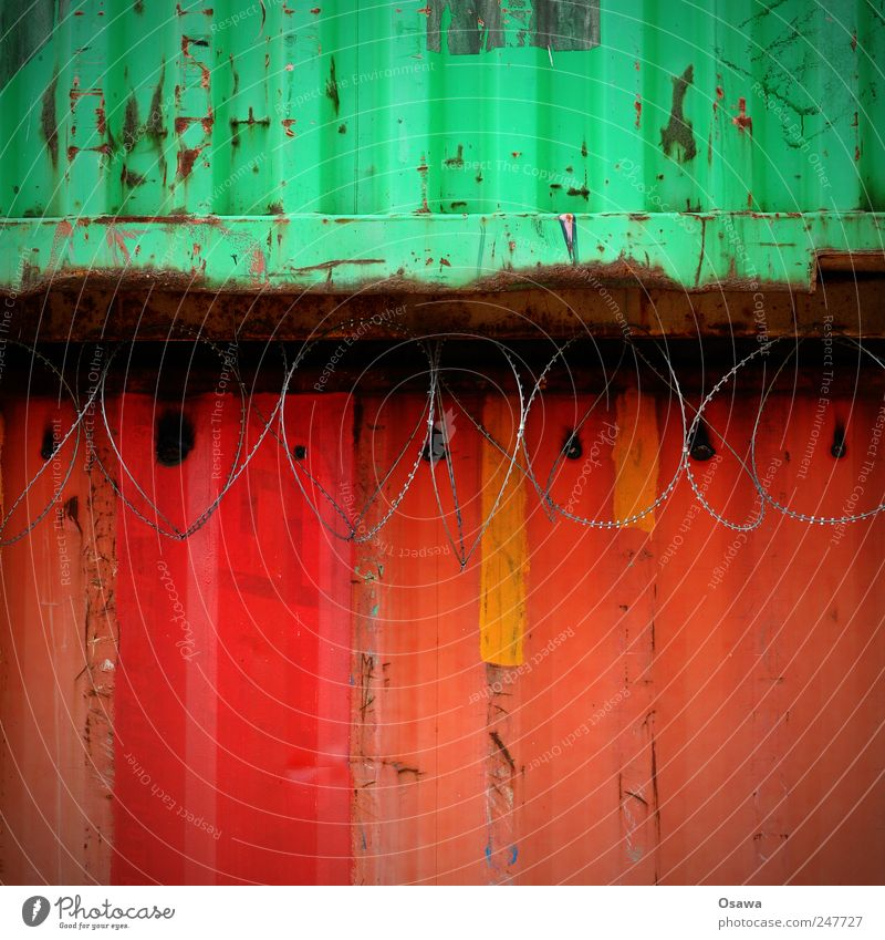 red-green Red Green Metal Steel Trapezoidal sheet metal Corrugated sheet iron Container Barbed wire Barbed wire fence Multicoloured Copy Space top