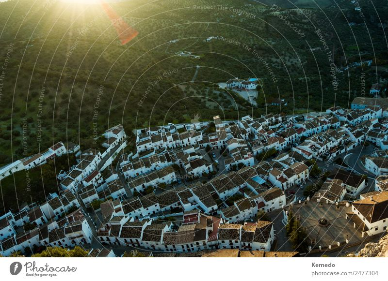 Aerial views of white village and forest. Sierra landscape. Vacation & Travel Tourism Adventure Mountain Hiking House (Residential Structure) Nature Landscape