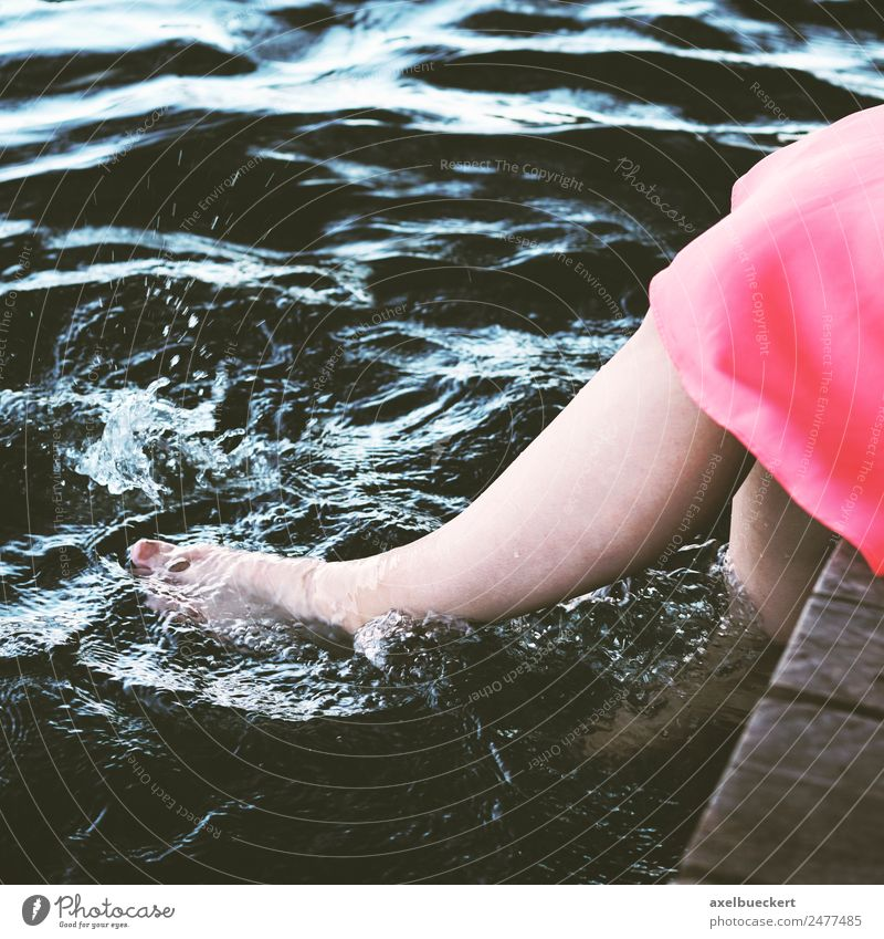 Feet dangle in the water Lifestyle Joy Relaxation Swimming & Bathing Leisure and hobbies Human being Feminine Young woman Youth (Young adults) Woman Adults Legs