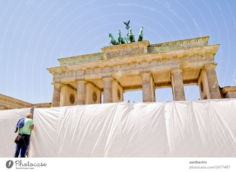 Brandenburg Gate (upper half) Barrier Architecture Berlin Germany Capital city langhans Quadriga Carriage and four Seat of government Spree Spreebogen Column