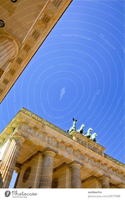 Sky Heaven Summer Architecture Berlin Tourism Germany Copy Space Landmark City trip Capital city Column Seat of government Quadriga Carriage and four Spreebogen