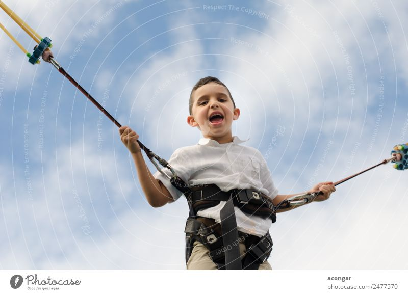 Children having fun while jumping nonstop Happy Leisure and hobbies Playing Children's game Human being Masculine Boy (child) Infancy 1 3 - 8 years Sky To enjoy