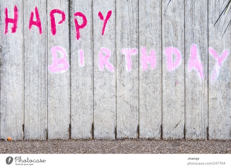 to you Lifestyle Feasts & Celebrations Birthday Wall (barrier) Wall (building) Characters Graffiti Gray Pink Red Happy Birthday Colour photo Exterior shot