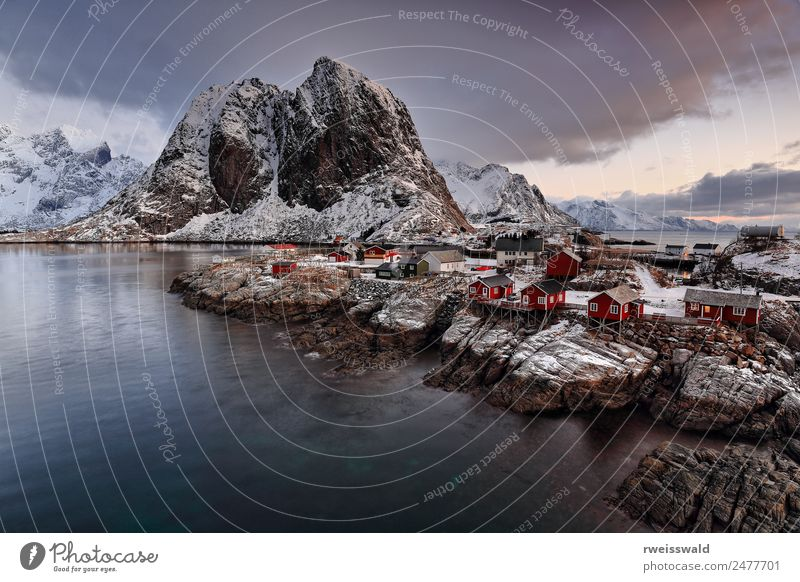 Hamnoy hamlet-Festhaeltinden mount-Moskenes-Lofoten-Norway. 0209 Sky Nature Vacation & Travel Blue Water Landscape White Red Relaxation