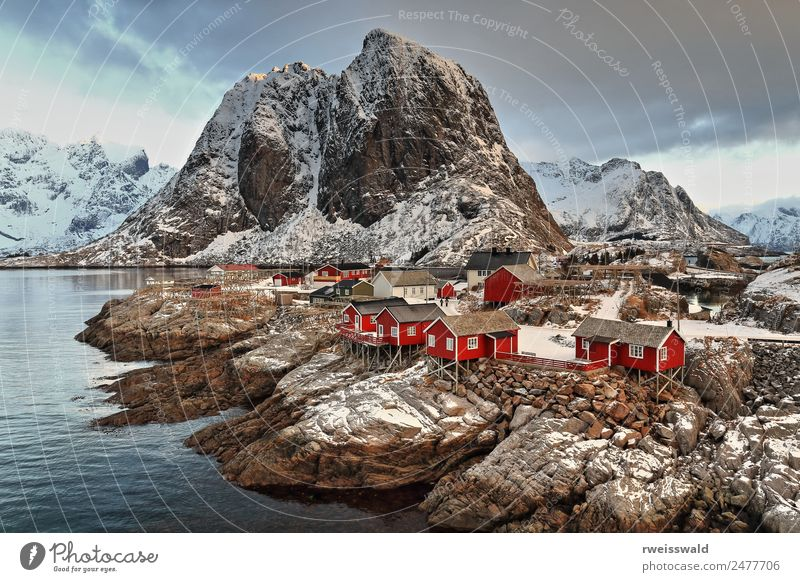 Hamnoy hamlet-Festhaeltinden mount-Moskenes-Lofoten-Norway. 0223 Sky Nature Vacation & Travel Beautiful Colour Water Landscape Relaxation