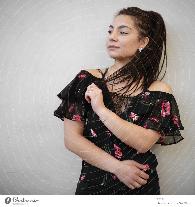 Nikoliya Feminine Woman Adults 1 Human being Wall (barrier) Wall (building) Shirt Earring Brunette Long-haired Braids Observe To hold on Looking Friendliness