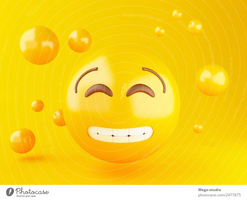 3d Emoji icons with facial expressions. Design Joy Happy Face Friendship Mouth Glittering Smiling Laughter Happiness Funny Cute Yellow Emotions Smiley